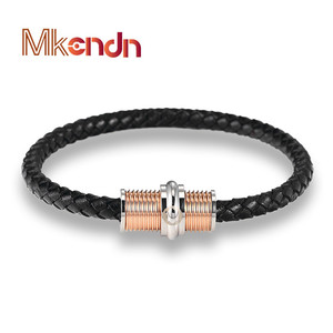 MKENDN FASHION Men Braid Leather bracelet Stainless Steel Turnbuckle head Magnetic Clasps Bracelets Trendy Mens Jewelry