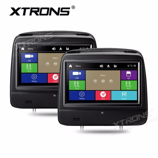 XTRONS 8 Monitors 1280*720 HD Digital Touch Screen 1080P Detachable Leather Cover Car Headrest DVD Player IR FM Speakers