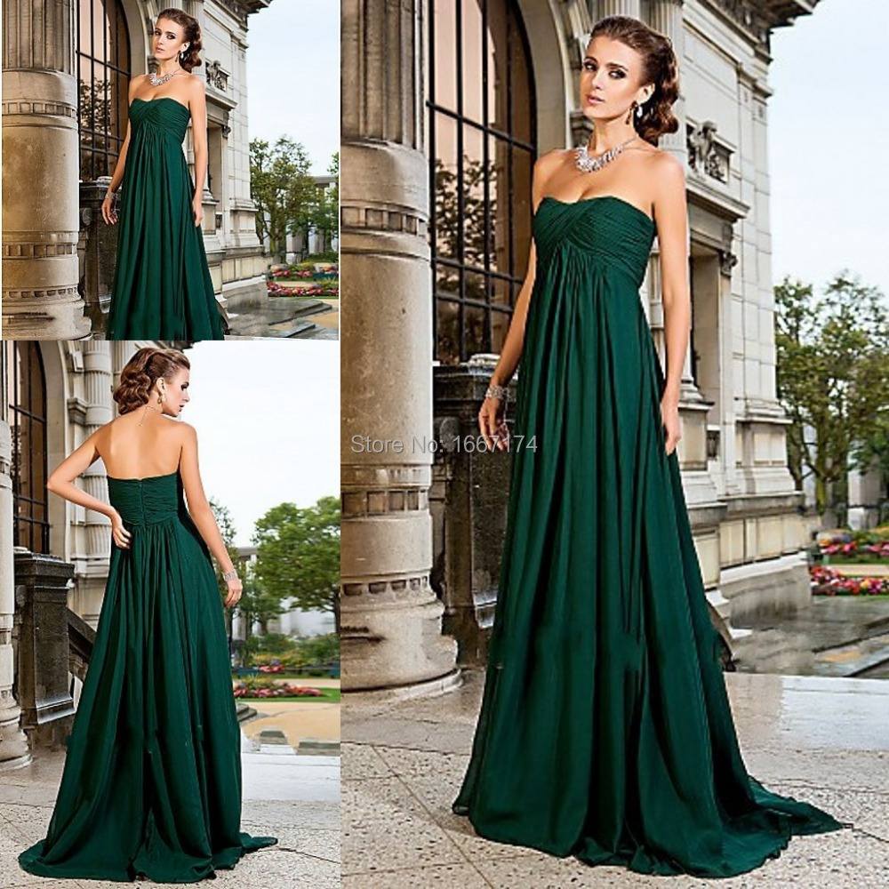 Free Shipping Sweetheart Ruffles Long Chiffon Gemstone Emerald Green Bridesmaid Dresses Brides Maid Dress Of Honor In From