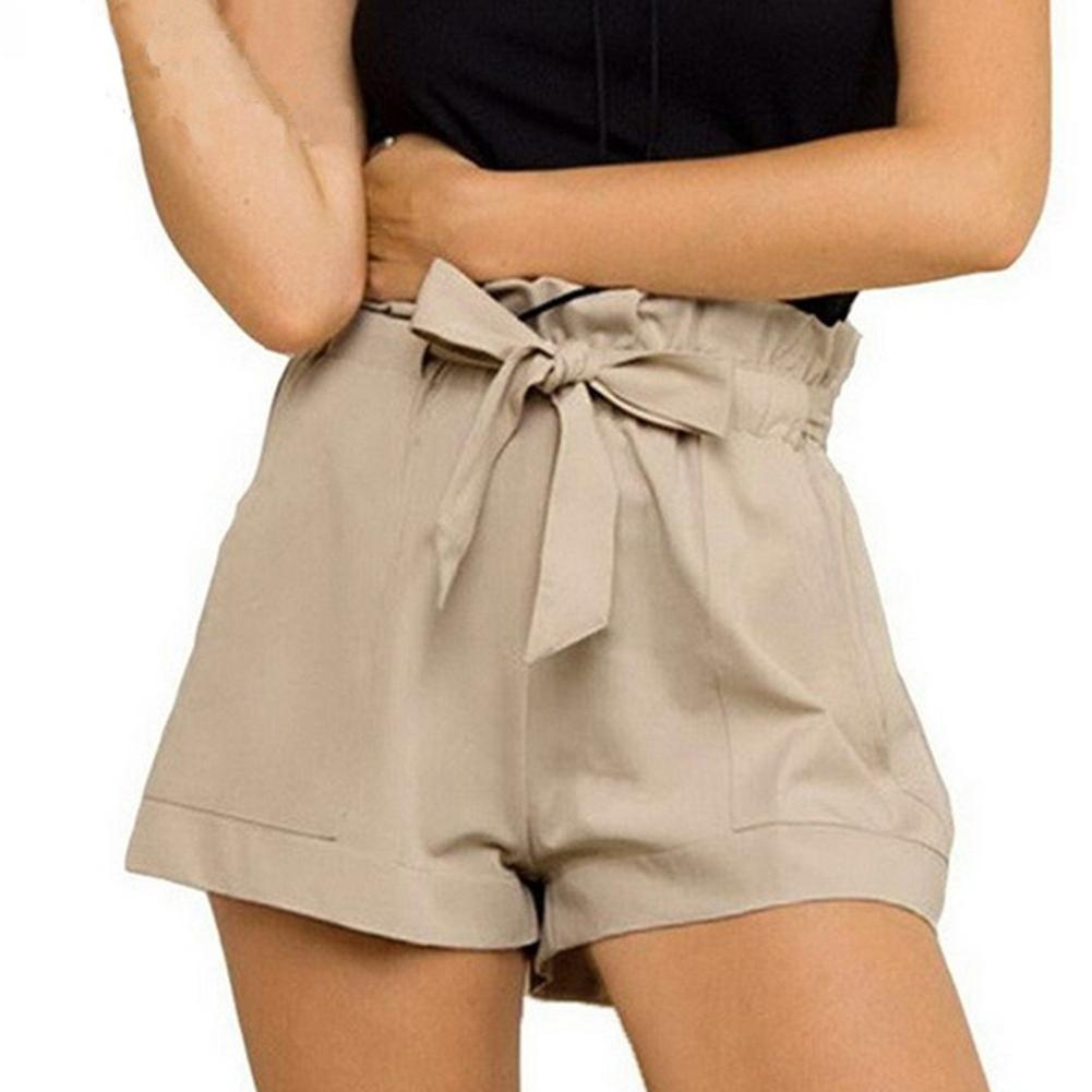Fashion Summer Solid Color Women Ruffled High Waist Belted Shorts With Pockets