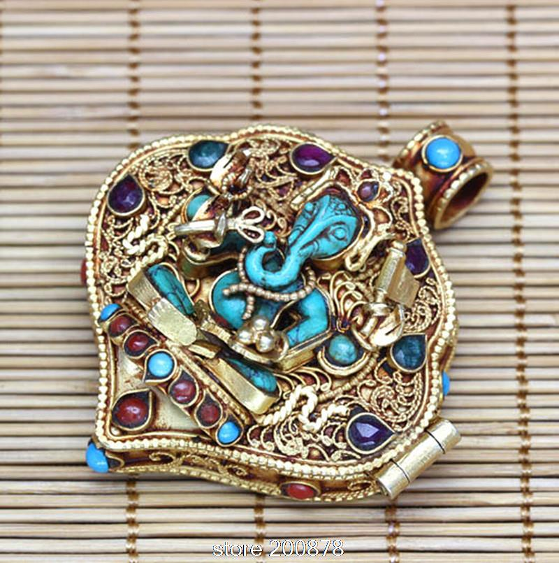 T9180 Amazing Fine Tibetan Stone Ganesh Amulet Prayer Box Nepal hand 925 Sterling Silver Golden Pendants vogue multi colored synthetic lolita cosplay towheaded wavy long centre parting capless women s wig