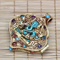 T9180 Amazing Fine Tibetan Stone Ganesh Amulet Prayer Box Nepal hand 925 Sterling Silver Golden Pendants