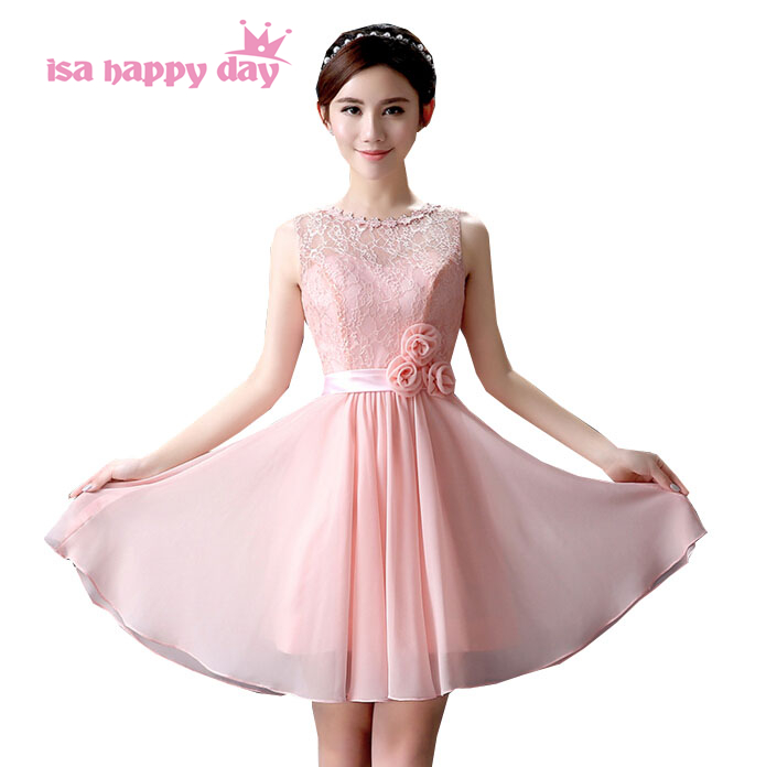 formal short women elegant a-line bridesmaid dress lace dressses braidmaids new eve pink party dresses for teens under 100 H3604