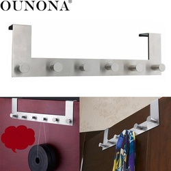 OUNONA Stainless Steel Over the Door Hooks Hagner Rack Clothes for Cloth Pants Hat Towel (6-Hook)