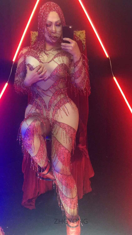 Halloween Nachtclub sänger JAZZ DJ Weibliche DS kostüme Rot Quasten flash strass overall trikot body Party bühne zeigen