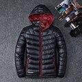 Venda quente 2017 Inverno Roupas masculinas Casuais Cor Sólida Destacável Com Capuz Para Baixo Jaquetas e Casacos Jaquetas de Pato Para Baixo 1618 #
