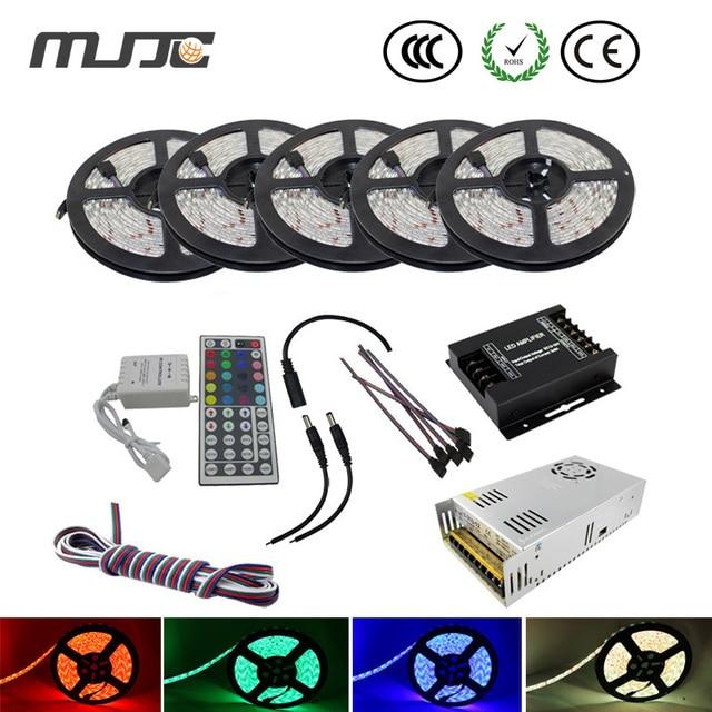 Synchronously 25M SMD5050 Waterproof IP65 RGB LED Stripe+ IR 44Keys RGB Controller+12V 350W power supply+Amplifier