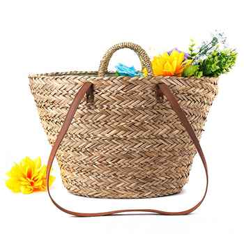 LJL new Straw+Polyester bag fashion leisure straw bag quality craft paper holiday weaving handbag beach bag - DISCOUNT ITEM  34 OFF Luggage & Bags