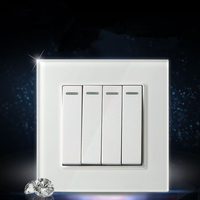 UK Standard 4 Gang Wall Switch And White Color Galss Panel Lamp Switch 16A Push Button