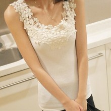 811f6f9879501 2018 Spring Summer lace Tank Tops Women Sleeveless Round Neck Loose T Shirt  Ladies Vest white