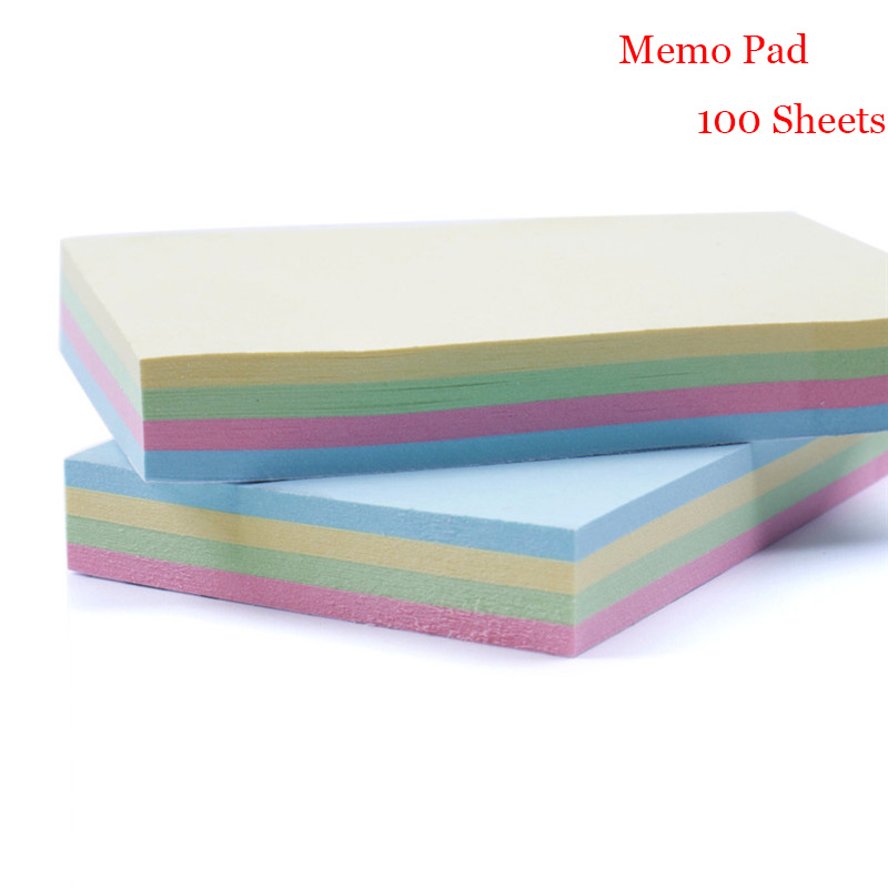 Office Stationery Sticky Notes Solid Color Memo Pad 100 Pages Sticker Bookmark Marker Memo Sticker Paper