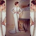 Modern Branco Árabe Mangas Compridas Vestidos de Noite Formal 2016 Alta Neck Sequins Beading Festa Vestidos Paquistanês Vestidos de Dubai