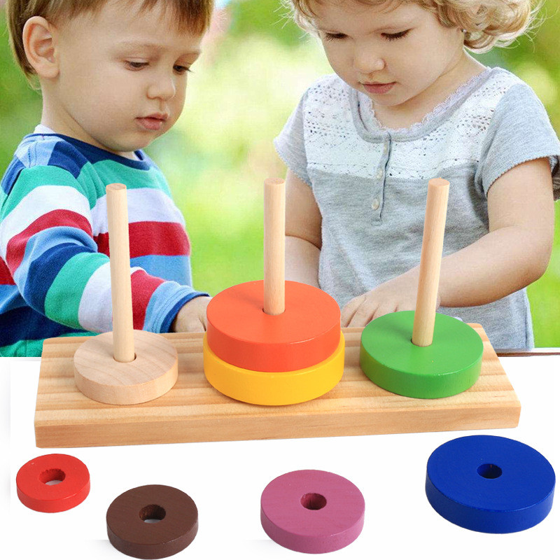 Fun Tower Of Hanoi Educational Wooden Tower Classic Mathematical Puzzle Toy For Children Intelligence Kids Educational Gift