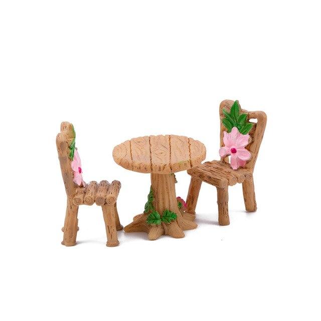 Home Micro Landscape Miniatures 3 Pcs/Set Cute Table Chair Resin Craft Ornament Fairy Garden Miniature Figurine Decoration 1