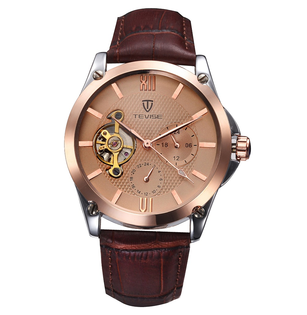 TEVISE Brands Men s Watch Authentic fashion Automatic mechanical stainless steel male Wrist watches waterproof Tourbillon
