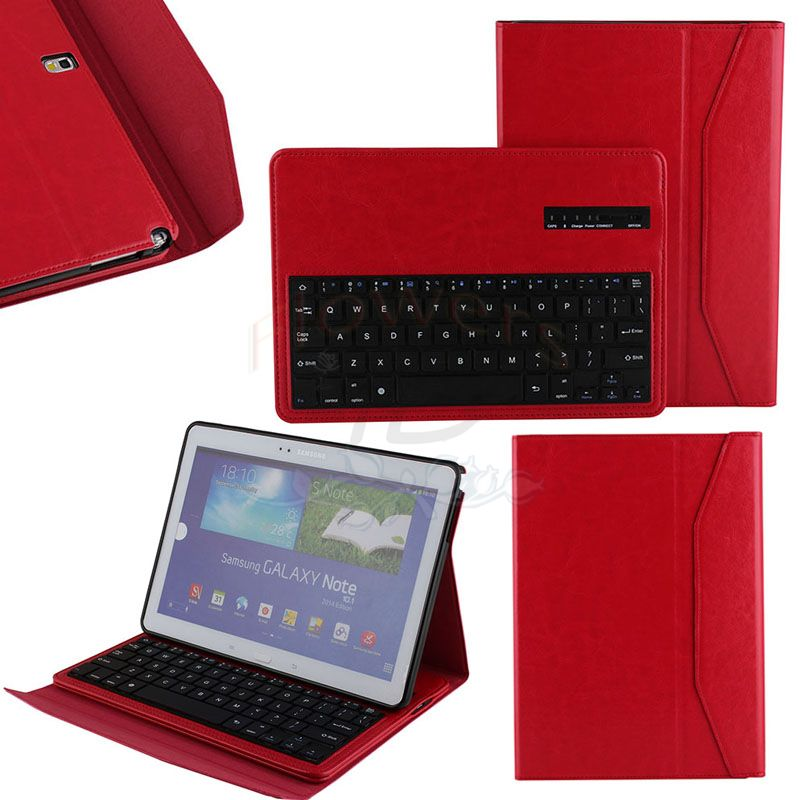 Luxury Specialized Removable Bluetooth Keyboard W/Stand Smart Case Cover For Samsung Galaxy Tab Pro 10.1'' T520 Note P600- Red