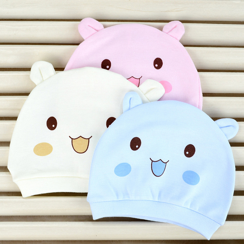 Summer Kawaii Baby Caps Hats Newborn Photography Props Cartoon Smile Pig Cat Dog Cotton Girls Boys Beanies Infant Baby Hat D45