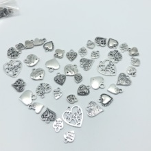 30pcs Mixed batch Alloy Tibetan silver heart jewelry charm pendant classic DIY fashion jewelry findings