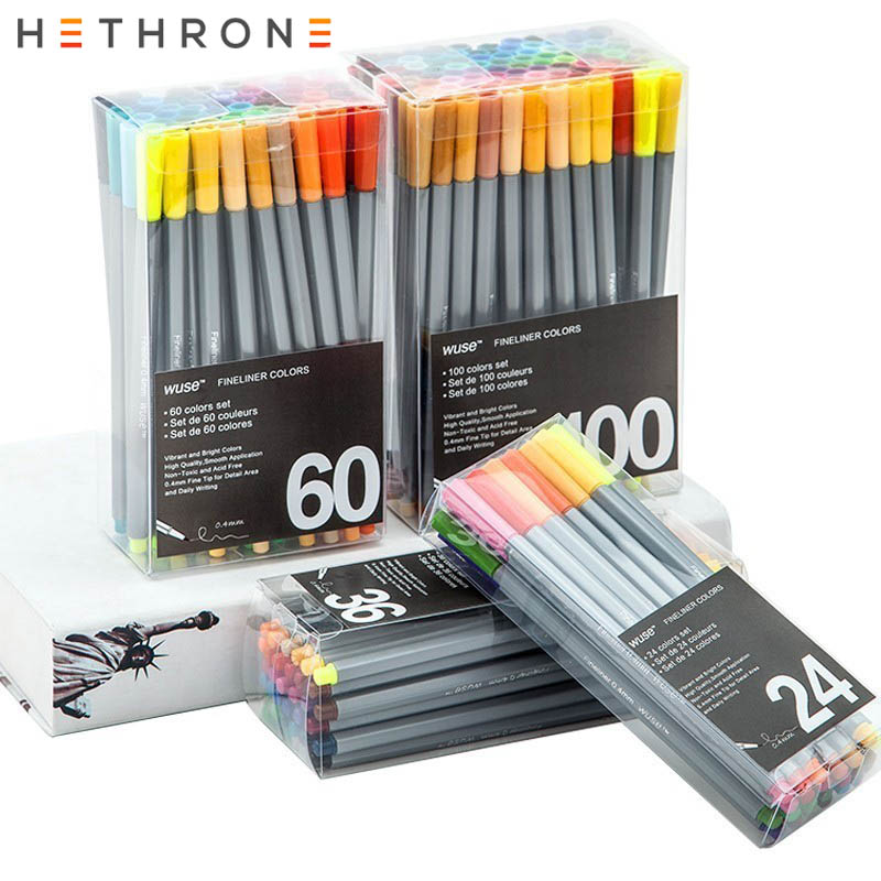 Hethrone 36/60/100PCS Quality 0.4mm Drawing Painting Marke Pen Scrub Student Fineliner Art Tip Supplies Kawaii Pen Stationery