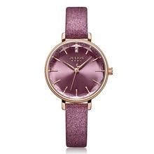 新ジュリアス女性の腕時計日本クォーツ切断ガラス女性営業時間ファッション時計ブレスレット本物の革女の子の誕生日ギフトボックス