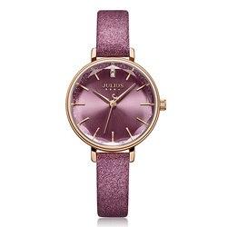 Nova julius relógio feminino japão quartzo corte de vidro senhora horas moda relógio pulseira de couro real presente da menina