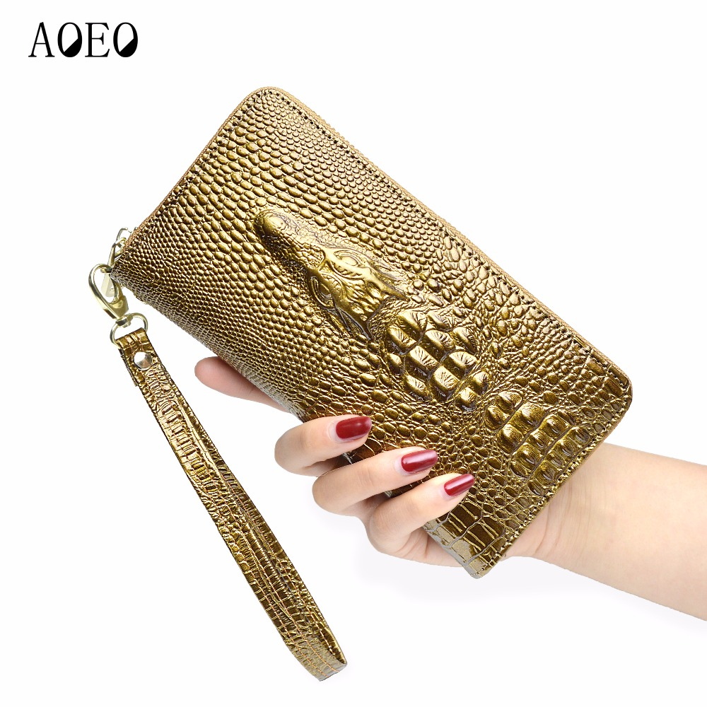 AOEO wallet Female leather crocodile with cell phone pocket Wristlet card holder Coin Purse Long womens wallets and purses Girl stock promotion genuine leather wallet female purse long coin purses holder ladies wallet hasp fashion womens wallets and purses