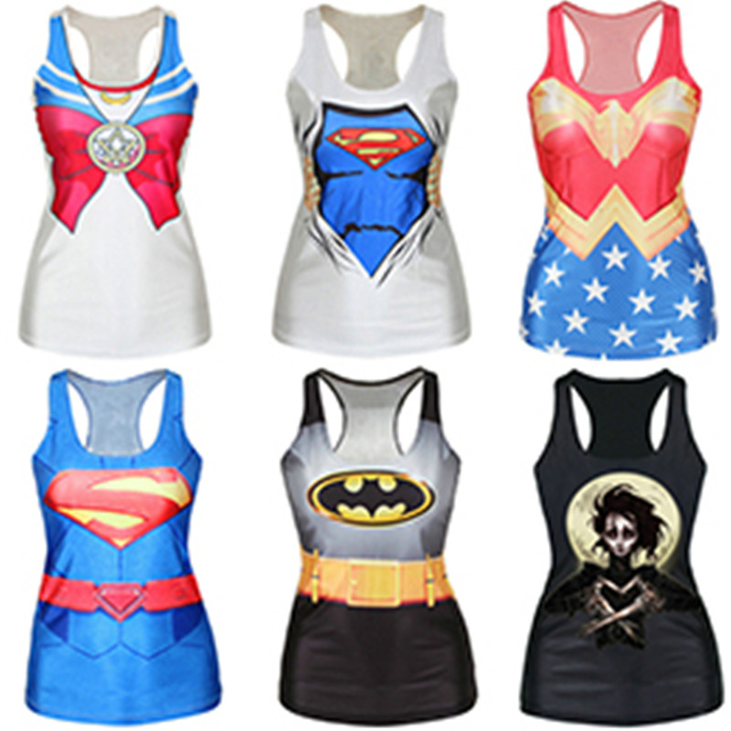 Cartoon Pattern Printed Tank Tops Summer Sleeveless Harajuku Style Punk Camisoles Fitness Women Elastic Vest