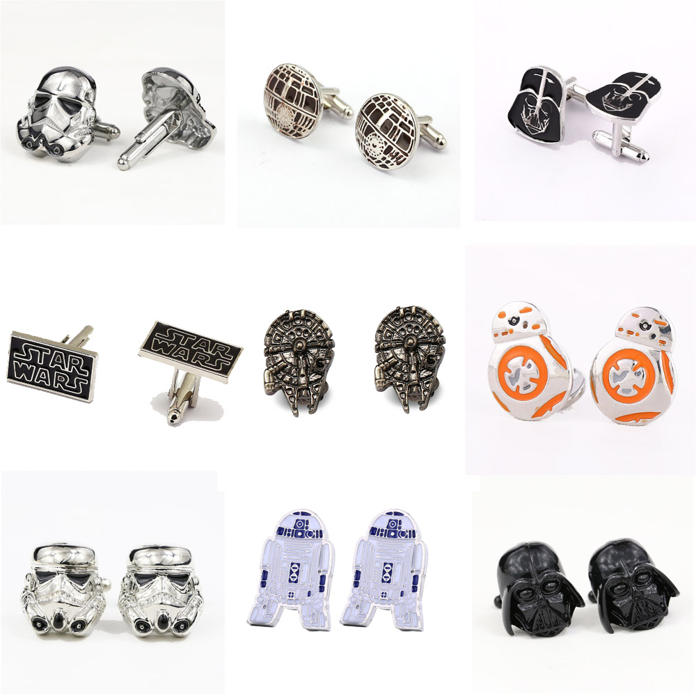 все цены на Star Wars Falcon Destroyer StormTrooper Darth Vader Cufflink Wholesale For Mens Brand Cuff buttons Cuff links Jewelry онлайн