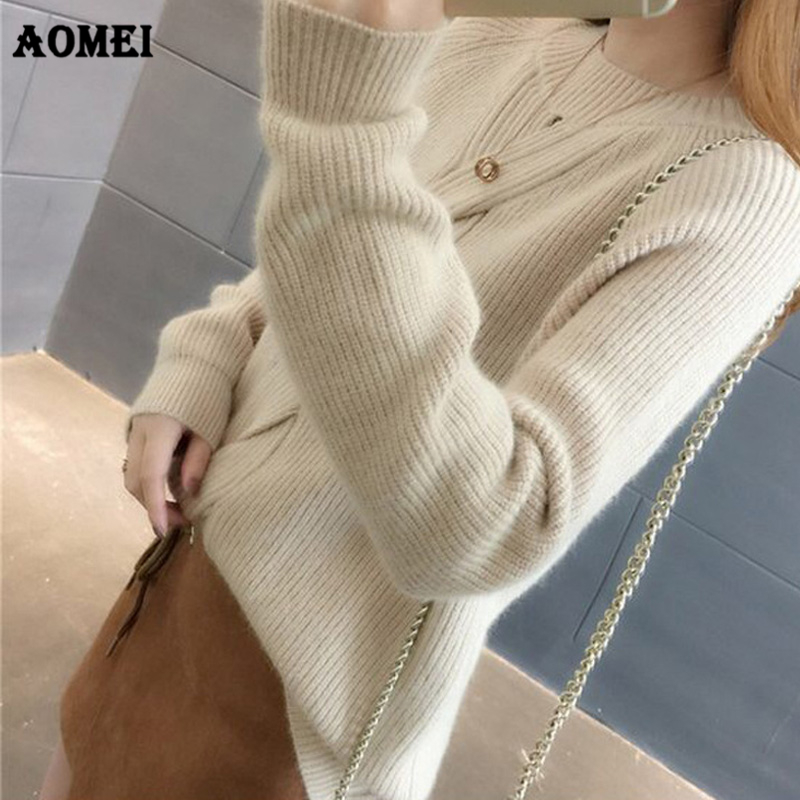 Women Yellow Cashmere Sweater Jumper Angora Pullovers Girls Warm Autumn Winter Fashion Sweet Girls Hollow Out Casual Fall Tops
