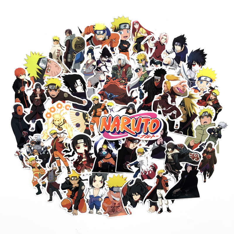 63pcs waterproof Luggage Sticker Naruto Sticker set akatsuki Character action figure pvc Sticker Kids Party