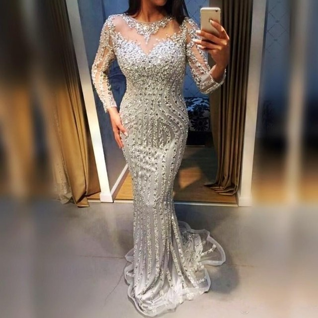 54faa0c004e96 Silver Mermaid Evening Dresses Long vestido longo abiye gece elbisesi  Formal Gown Beaded abendkleider Crystals Evening Dress