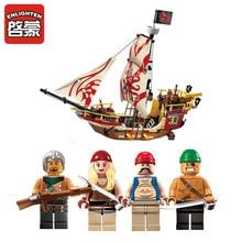 2017 Nouveau Éclairer 1311 Pirates série Le Maraudeur modèle Building Blocks set Classique Des Caraïbes Pirates bateau jouet pour enfants