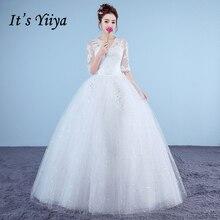 Это yiiya плюс Размеры Новый v-образным вырезом Половина рукава Блёстки Свадебные платья А красный, Белый Простые Дешевые Кружево невесты платья xxn183