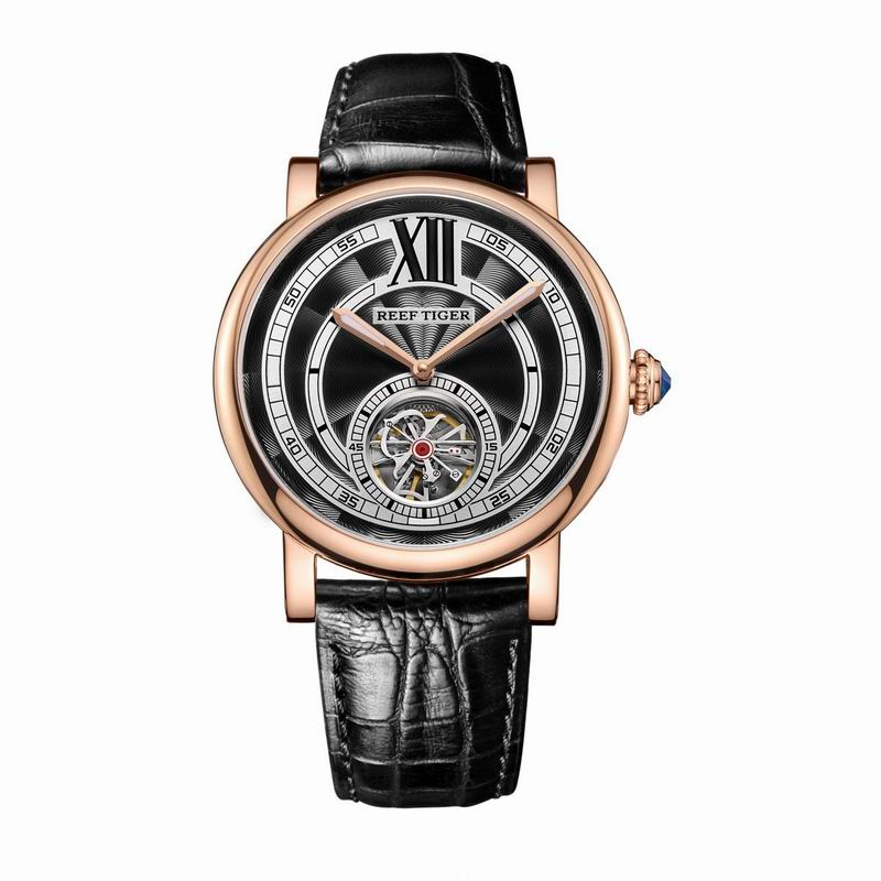 Reef Tiger RT Designer Casual Luxury Swiss Watches for Men Tourbillon Automatic with Crystal Crown Leather
