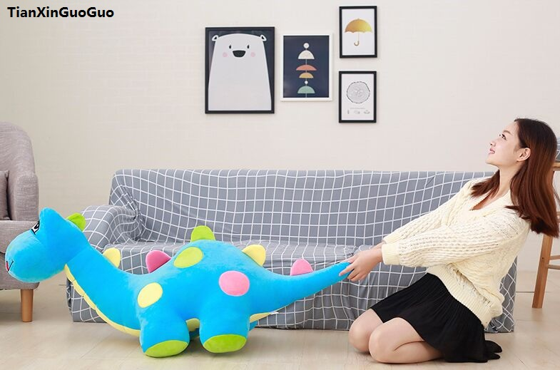 stuffed toy huge 125cm blue cartoon dinosaur plush toy Q edition dinosaur soft doll sleeping pillow birthday gift s1037 stuffed plush toy 68cm happy doraemon doll huge 26 inch soft toy birthday gift wt6761