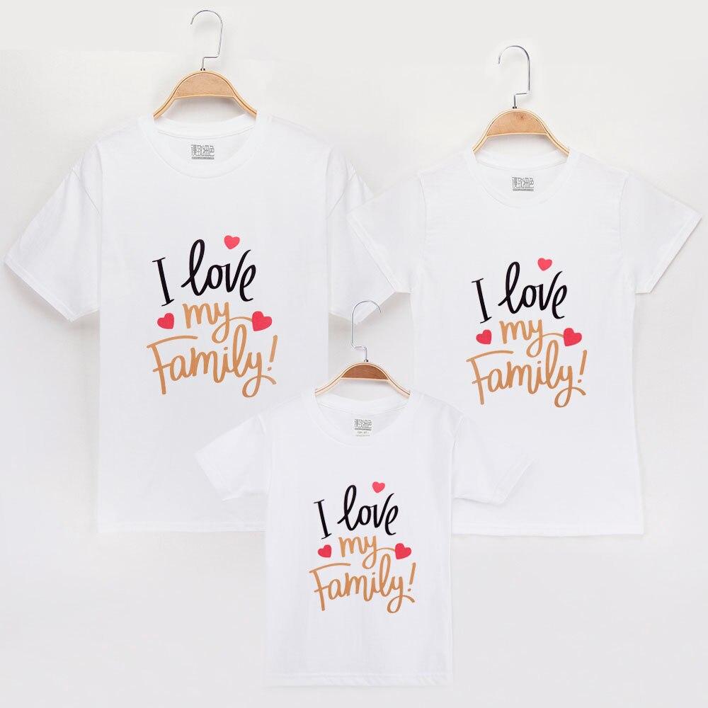 2019 eu amo a família combinando camiseta 100% algodão mãe filha vestidos roupas filho bebê olhar roupas combinando camisas topos
