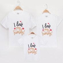 100% одинаковые футболки для всей семьи с надписью «I Love», 2019 хлопок, платья для мамы и дочки, одежда для сына и ребенка, одинаковые Рубашки, Топы