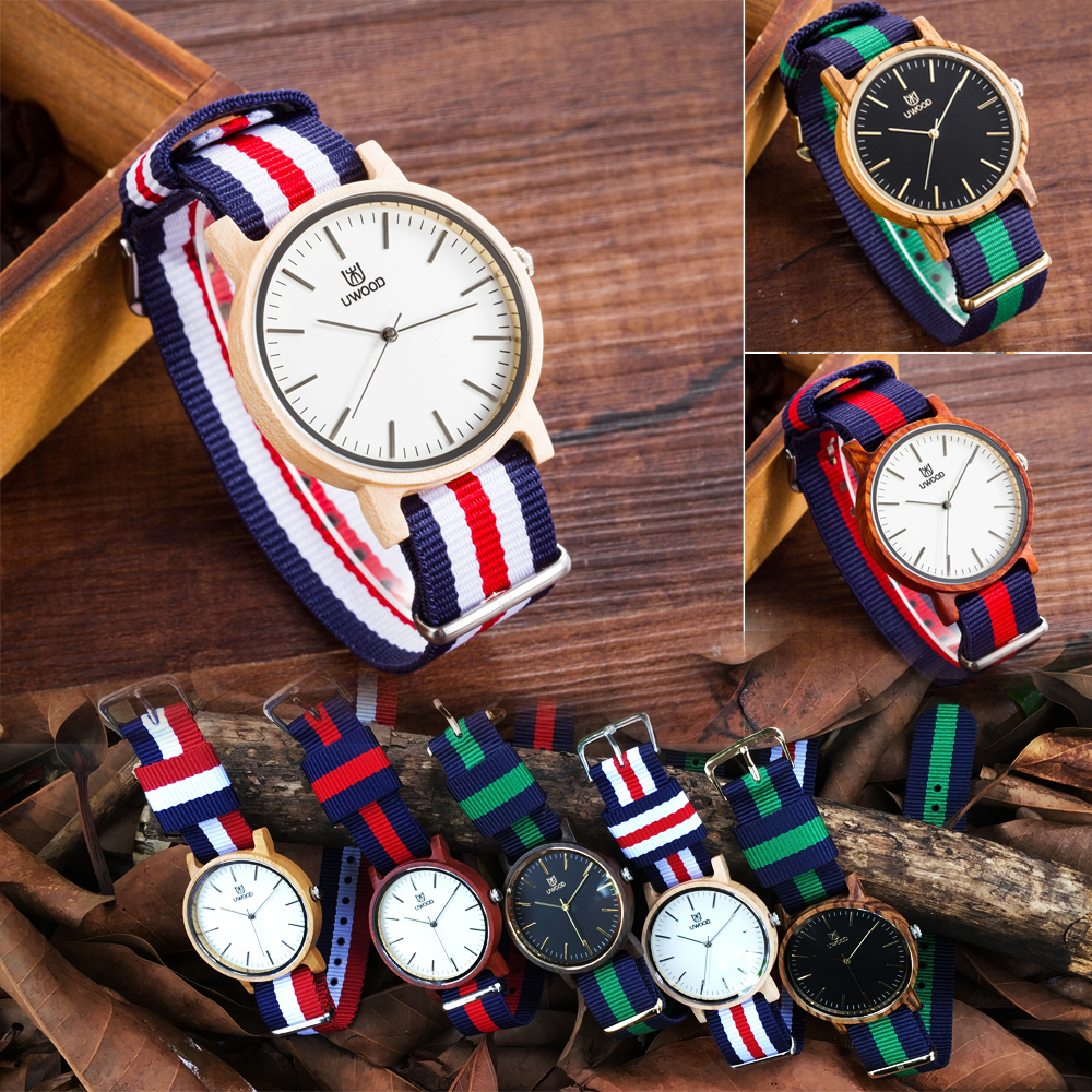 Super slim Quartz Casual Wristwatch Business JAPAN Movement UWOOD Brand Nylon Top Band Lovers Luxury Bamboo Custom Quartz Watch 2016 natural bamboo wood wristwatch japan quartz movement 2035 army nylon fabric strap new fashion wood watch with nylon band