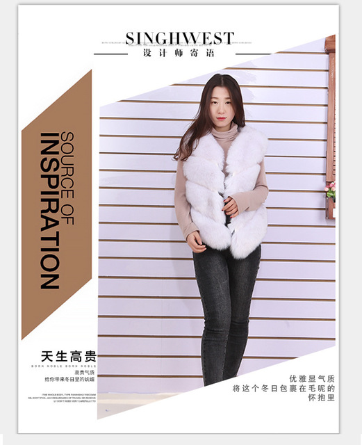 Faux Fur Coat 2019 Casual Warm Slim Sleeveless Faux Fox Fur Vest Winter Faux Fur Coats Women Pink Fur Jacket J205