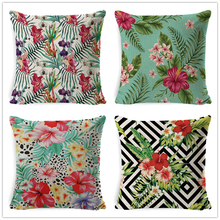 Fokusent Tropical Decoration Print Cactus Monstera Cushion Cover Polyester Throw Pillow Sofa Home Decorative Flower Pillowcase