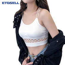 e1f726d52aa 2018 Streetwear Crop Top Summer Cropped Camisole Women Hollow Out Slim  Waist Camis Sexy Spaghetti cross