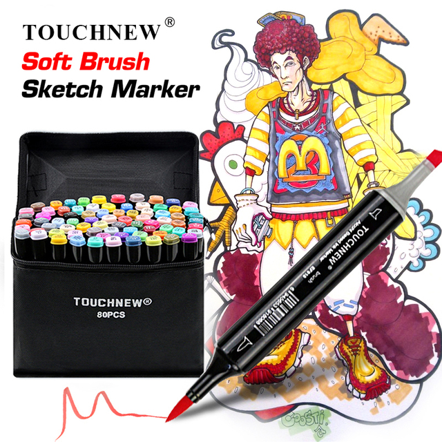 TOUCHNEW Single Color Markers Dual Brush Markers Oily Alcohol Based Sketch Markers For Drawing Manga Art Supplies Pens