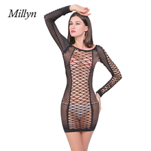 MILLYN IDEAS 2017 Hot sexy mesh nets transparent Siamese net nightwear long sleeved hollow Perspective babydoll lingerie