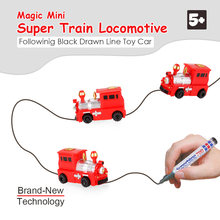 Inductive Car Diecast Vehicle Magic Pen Toy Mini Train Locomotive Follow Any Line You Draw Educational Toys for Kids Boys Gift(China)