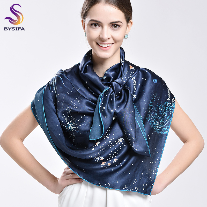 [BYSIFA] Ladies Brand Silk   Scarf   Shawl 2017 Fashion Accessories Top Grade Fine Pure Silk   Scarves     Wraps   135*135cm Silk Muffler