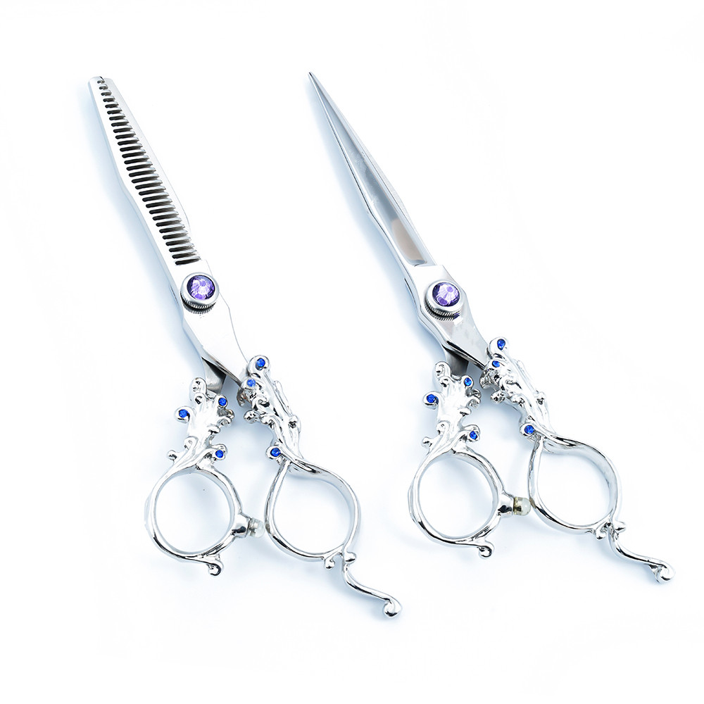 Purple Dragon 6 inch Cutting / Thinning Hair Clippers Hair Shears Professional Set Barber Salon Tools Hairdresser Supplies 6 inch 32 teeth hairdressing thinning hair scissor professional with leather bag barber shop hairdresser shears tools hk632vyb