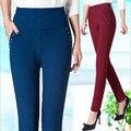 2017 Primavera Nueva Manera de La Alta Cintura Lápiz Pantalones estilo OL Pantalones Flacos Femeninos Más los pantalones Del Tamaño Pantalon Femme E425