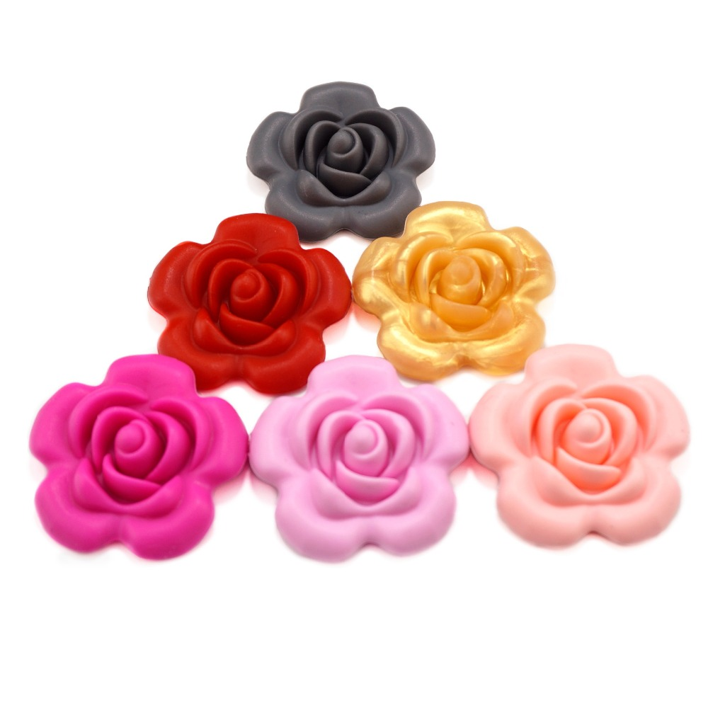 Beads & Jewelry Making Active 20pcs Rose Flower Silicone Beads For Diy Necklace Baby Chewable Toy For Teether Teething Pendants Jewelry Bpa Free Mix 10 Colors Sufficient Supply Beads