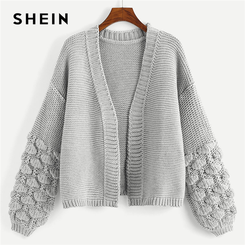 SHEIN Grey Elegant Cardigan 180802426