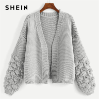 SHEIN Grey Preppy Campus Crochet Bishop Sleeve Marled Solid Cardigan Casual Sweater 2018 Autumn Elegant Women Sweaters
